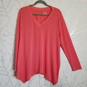 Lane Bryant Coral Pink V-Neck Handkerchief Blouse